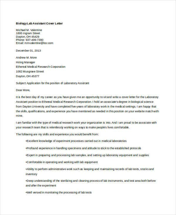 lab assistant - Clinical Research Assistant Cover Letter