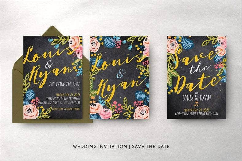 black-floral-wedding-template