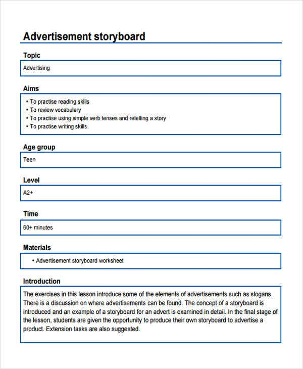 blank advertising storyboard