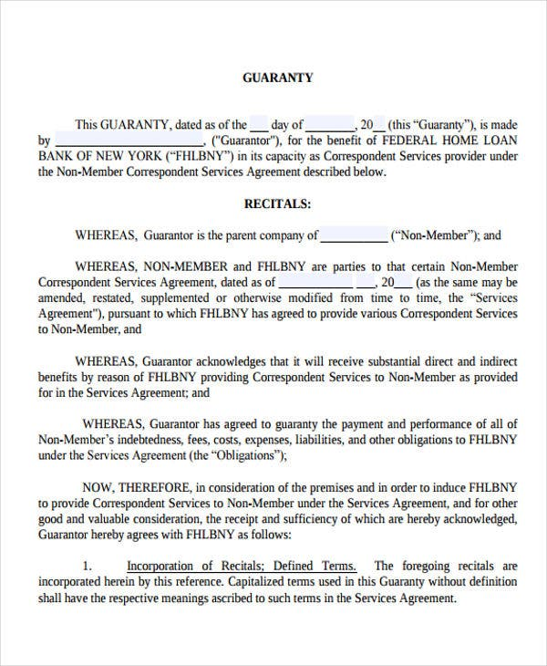 10 Guaranty Agreement Templates Free Sample Example Format