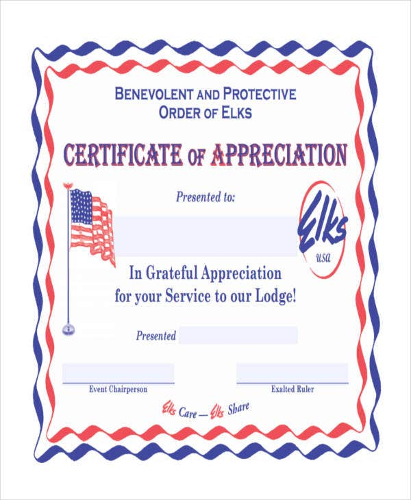 blank appreciation certificate