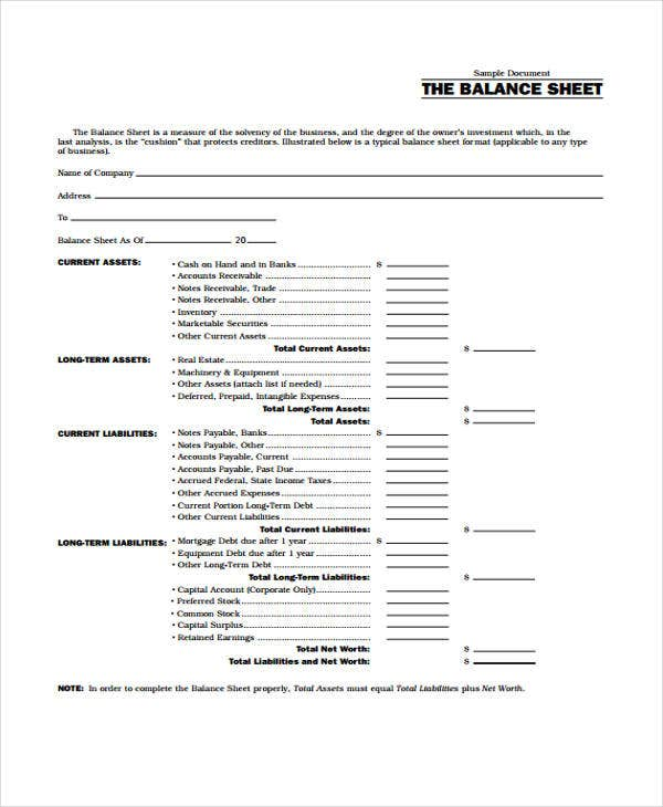 Balance Sheet Templates  Free Samples Examples Format