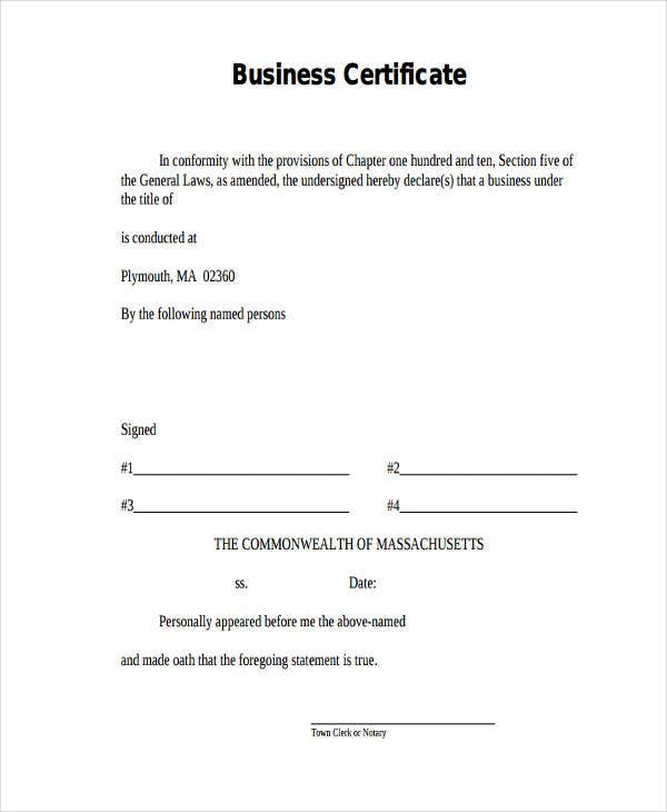 blank business certificate