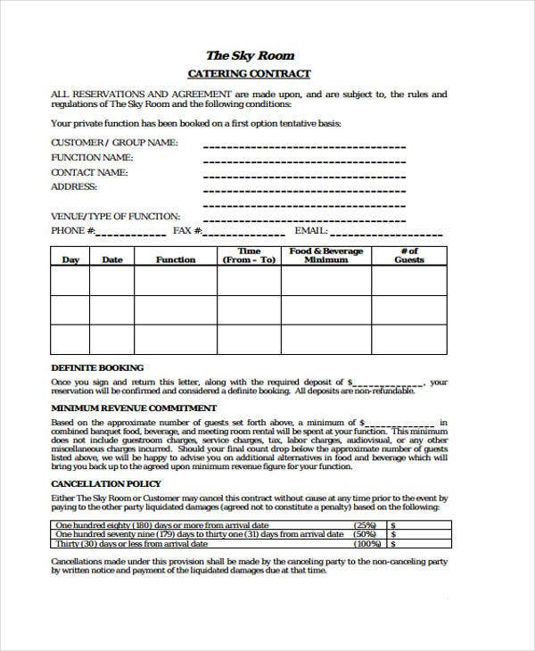 9 catering contract templates free sample example for Catering contracts templates
