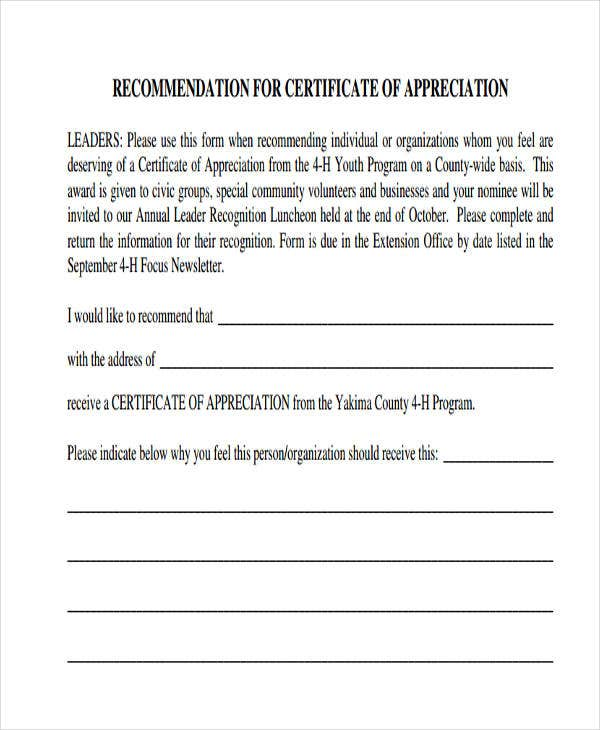 blank certificate for appreciation