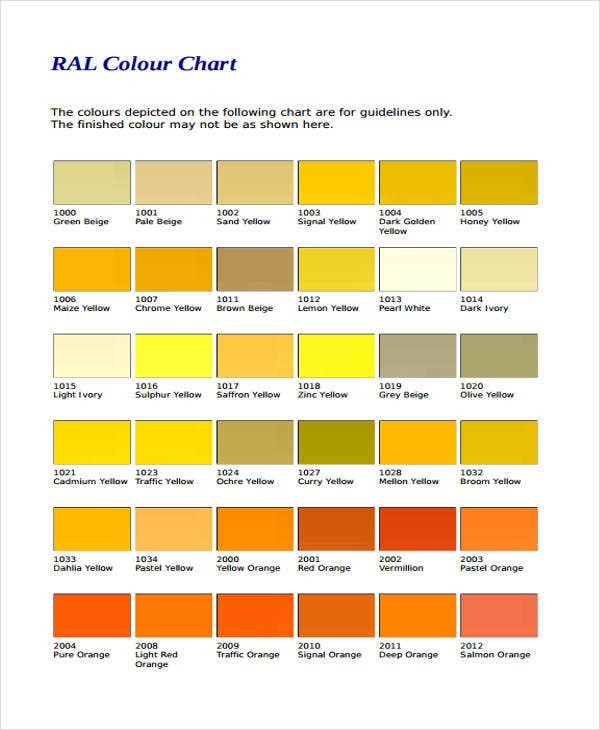 Color Chart Templates  Samples Examples  Free  Premium Templates