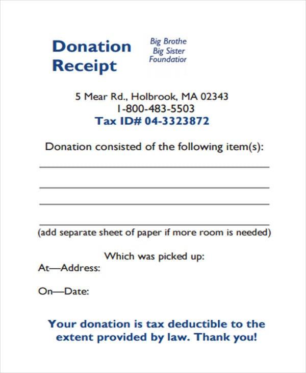 blank donation