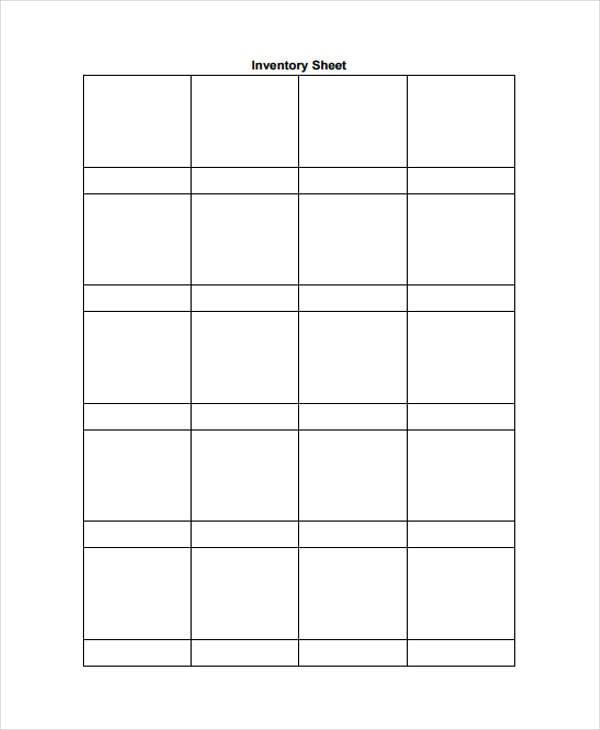 blank inventory sheet