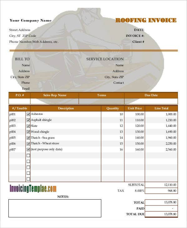 Roof Invoice Solan Annafora Co