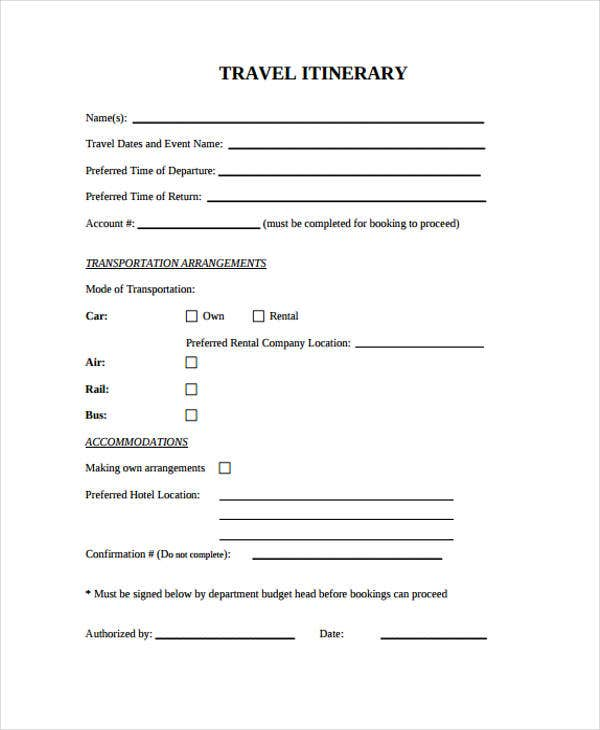 9 Blank Travel Itinerary Templates Free Sample Example