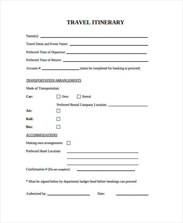 blank itinerary