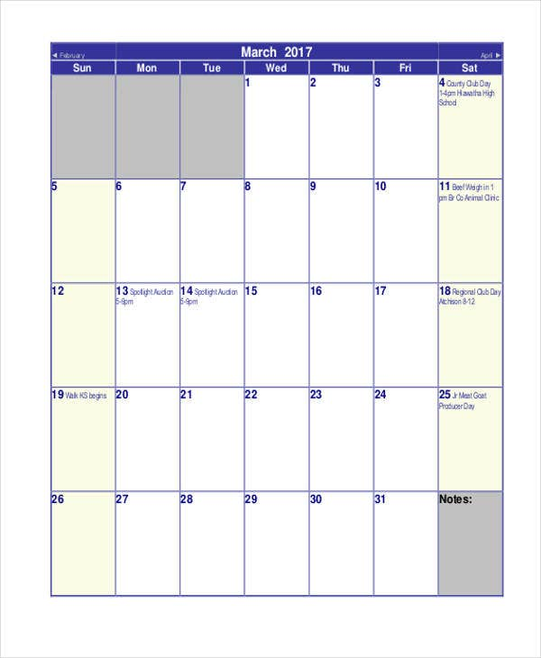 Monthly Calendar Templates   Free Word Pdf Format Download