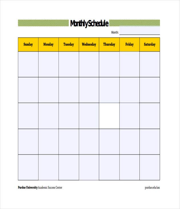 blank monthly