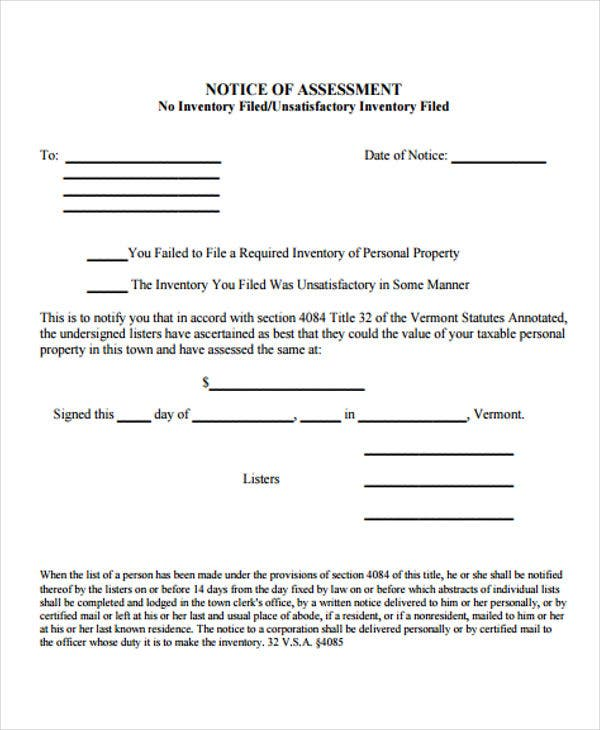 Notice Of Assessment Templates - 6+ Free Word, Pdf Format Download
