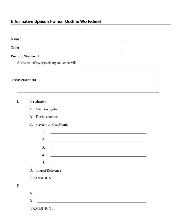 blank outline worksheet