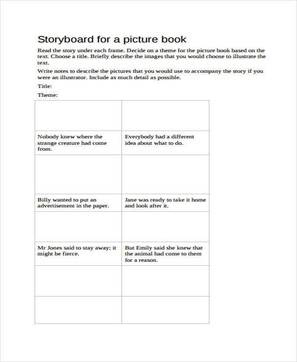 blank picture storyboard
