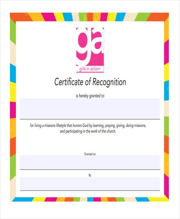 blank recognition certificate