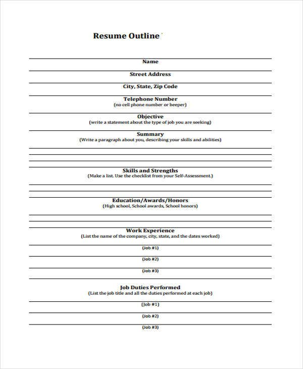 blank resume outline