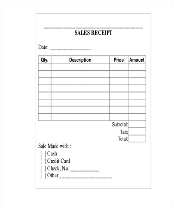 Blank Sales Receipt Novaondafm