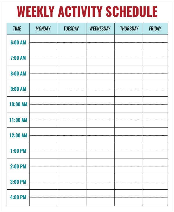 weekly activity schedule templates 6 free sample example format