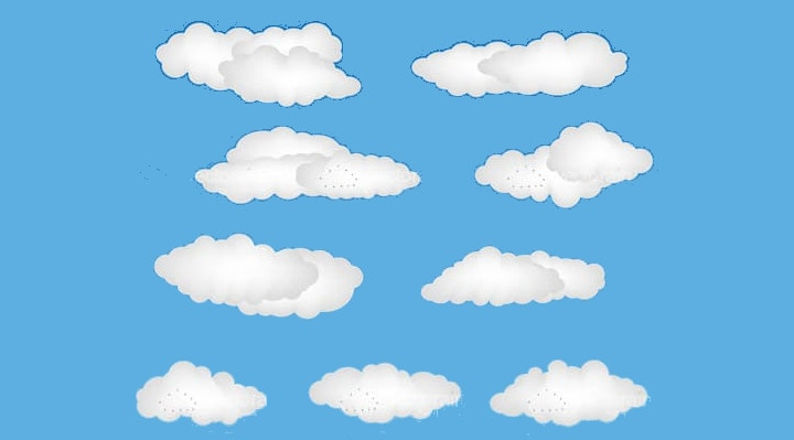blue cloud shapes