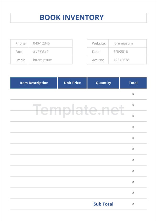 Book Inventory Template  Sample Ideas