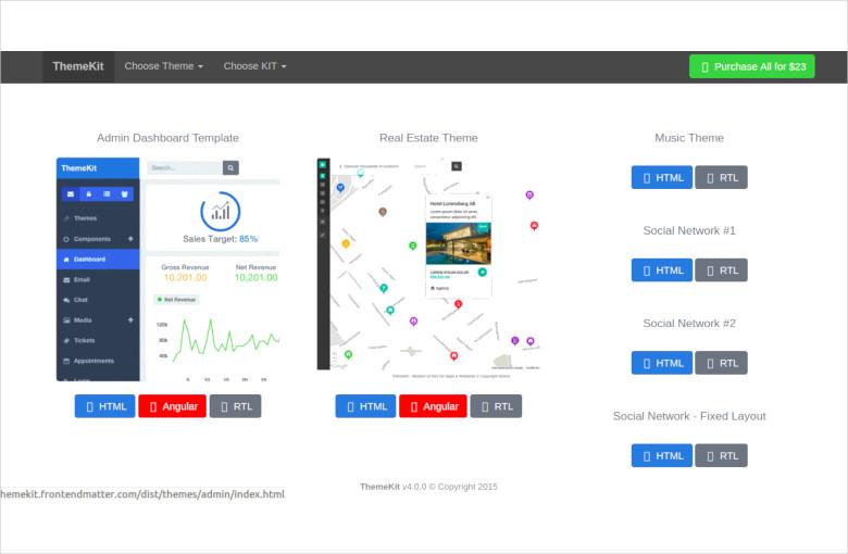 bootstrap admin theme kit