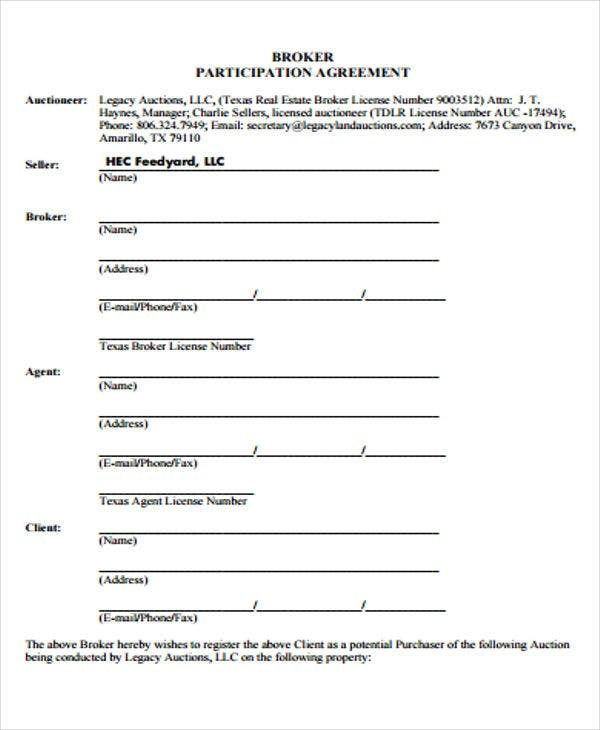 Participation agreement templates 9 free samples for Participation waiver template