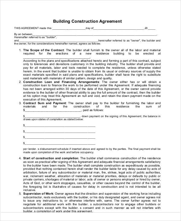 Construction Agreement Templates Free Samples Examples Format