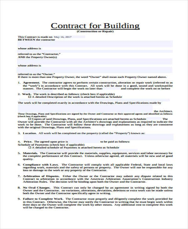 building contract sample