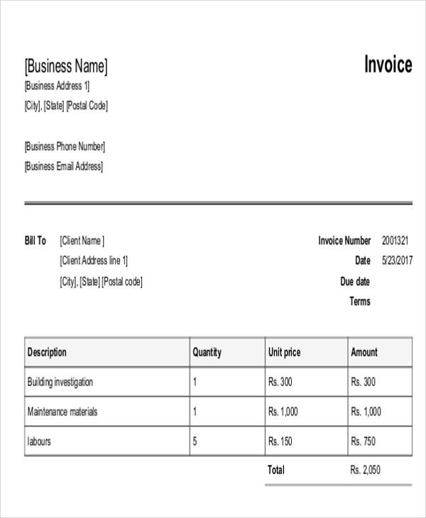 9 maintenance invoice template free sample example format