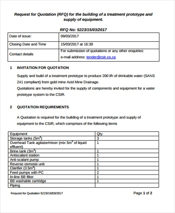 Contractor Quotation Templates   Free Word Pdf Format Download