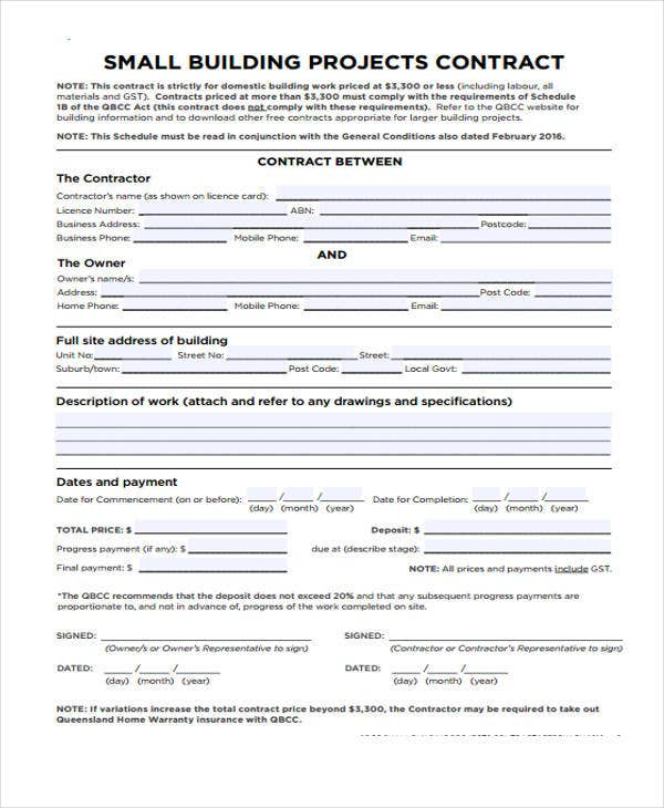 building work contract template
