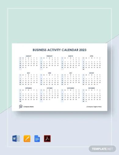 business activity calendar template