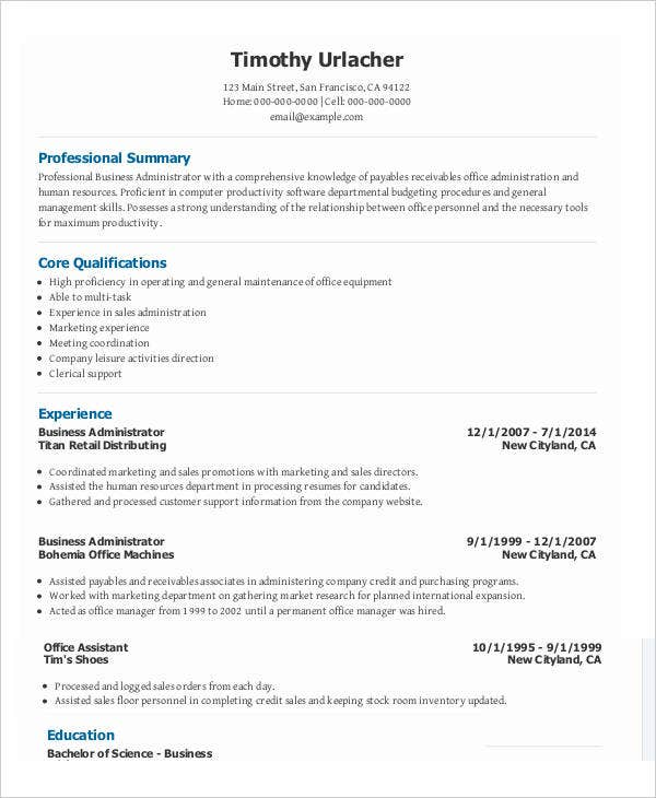 marketing resume download
