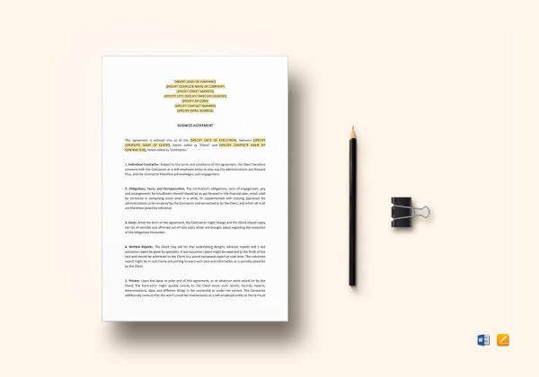 business agreement between two parties template