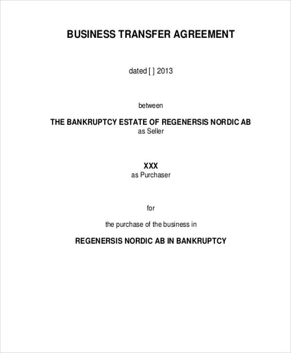 Transfer agreement templates 9 free word pdf format download business agreement in pdf cheaphphosting Gallery