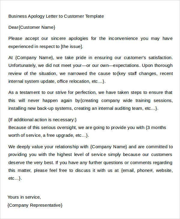 Business Apology Letter To Customer Template  Apologize Letter To Client