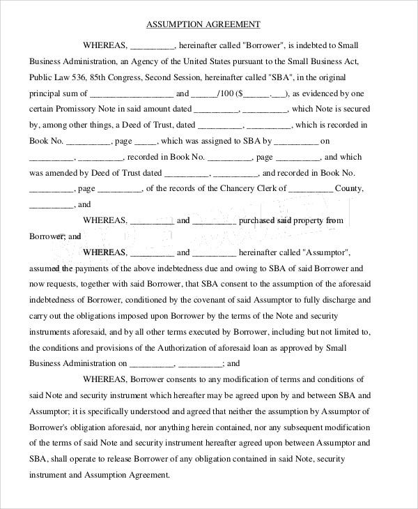 Assumption Agreement Templates 9 Free Word Pdf Format Download