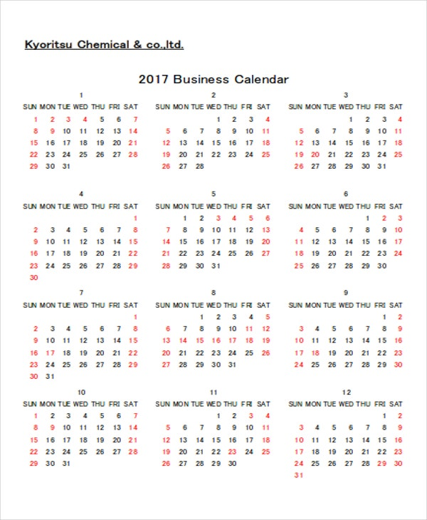 Corporate Calendar Template : Business calendar templates free sample example