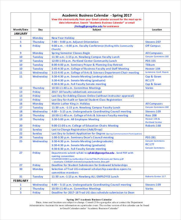 business calendar1