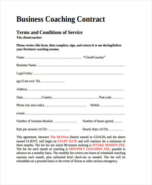 Coaching Contract Templates  Free Sample Example Format