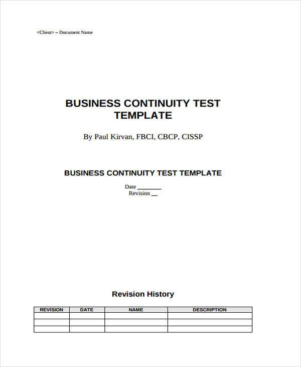 business continuity plan test