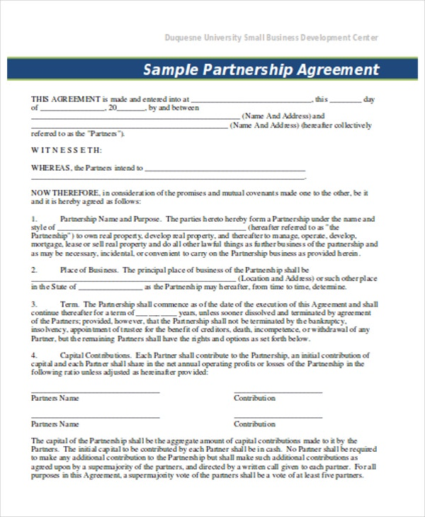 Business Contract Template  Business Partner Contract