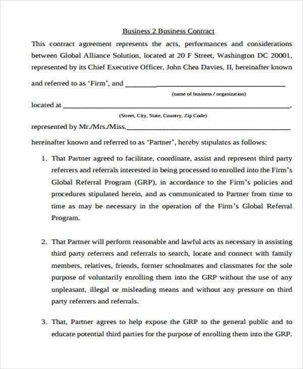 Business agreement templates 10 free word pdf format download business contract flashek Images