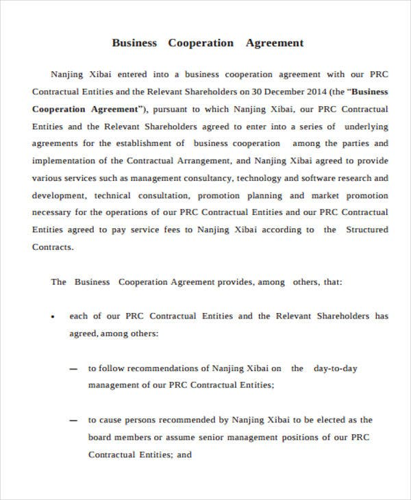 Business agreement templates 10 free word pdf format download business cooperation agreement1 flashek