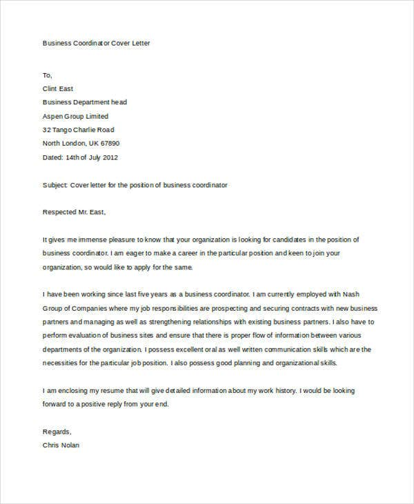 the format of a cover letter