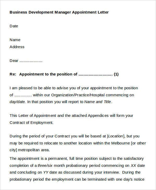 Official appointment letter templates 8 free word pdf format 8 official appointment letter templates word pdf flashek Gallery