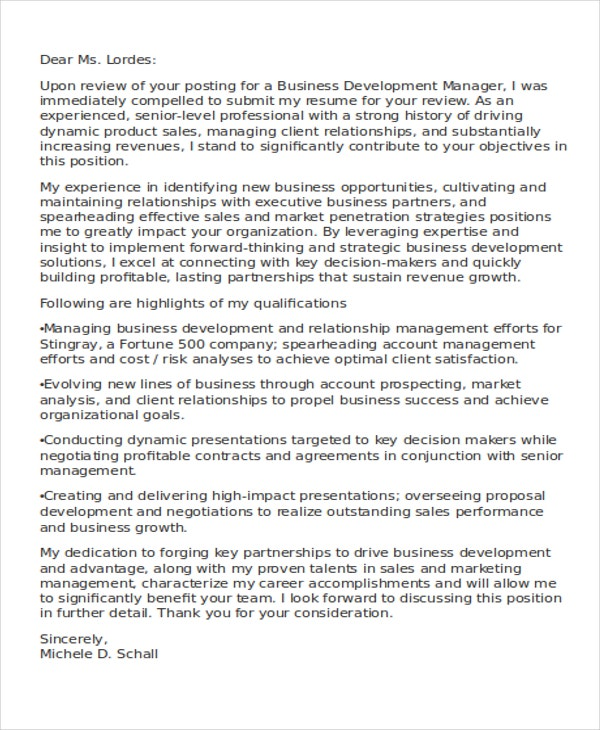Business Cover Letter Examples  Free  Premium Templates