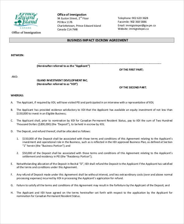 10 Escrow Agreement Templates Free Sample Example Format